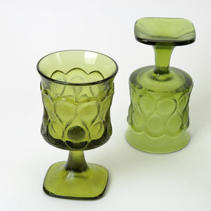 Noritake Spotlight goblets in olive green closeup view