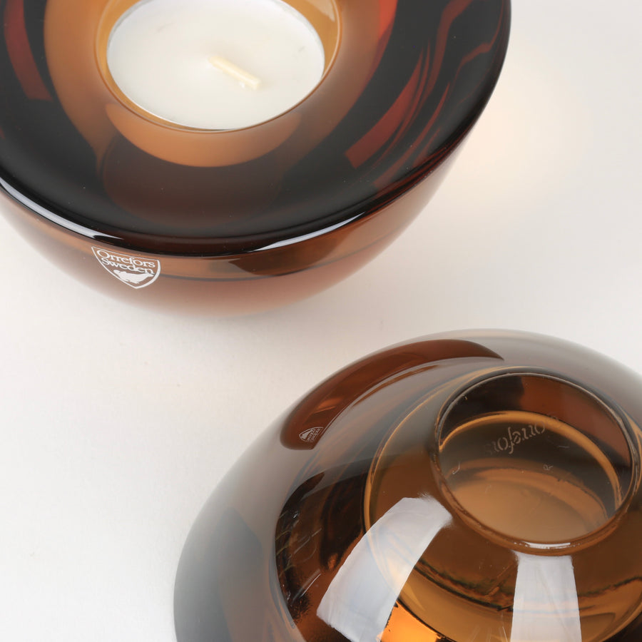 Orrefors Amber Crystal Votive Tapered
