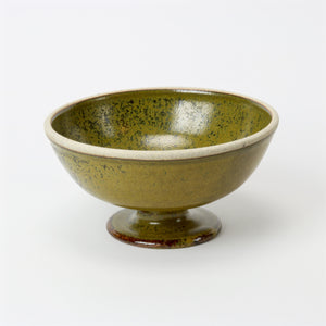 Green speckled glaze studio pottery bowl