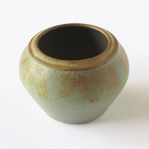 Vintage Ridenour Studio Vase with hand applied sage and rust glaze