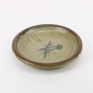 Ceramic dish art pottery with hummingbird detail
