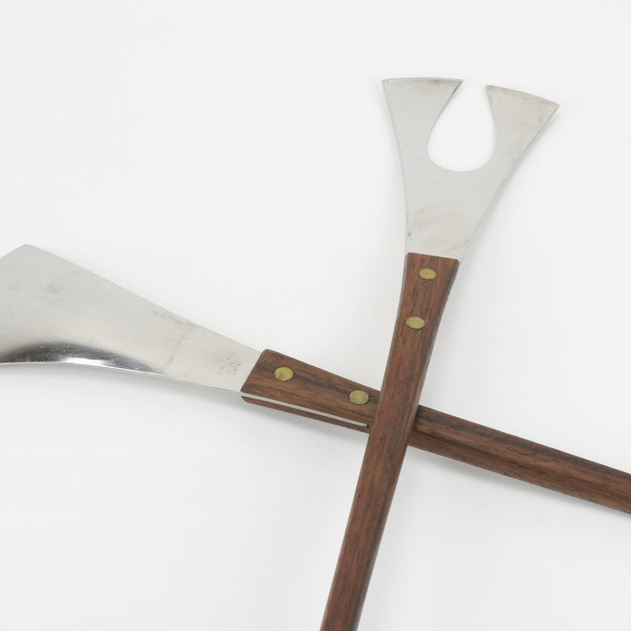 Rosewood and Stainless Salad Serving Tools
