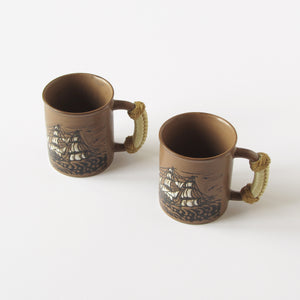Vintage Japanese sailing ship mugs with nautical rope covered handles