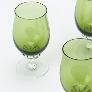 Sasaki Coronation crystal sherry glasses in green closeup
