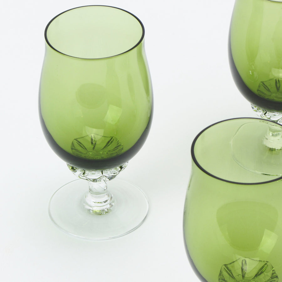Sasaki Coronation crystal sherry glasses in green