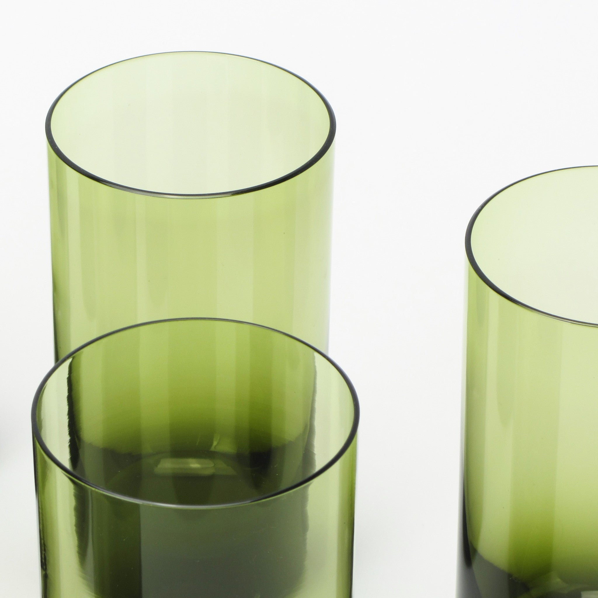 sasaki green crystal highball glasses made in japan closeup view - Highball Glasses