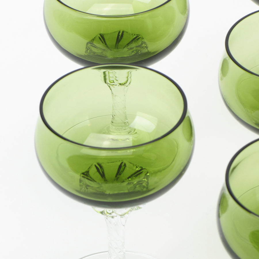 Sasaki Coronation small martini glasses in green crystal