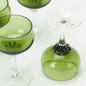 Sasaki Coronation small martini glasses in green crystal bottom view