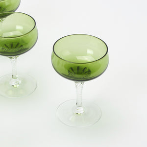 Set of 10 Sasaki Coronation green crystal martini glasses closeup