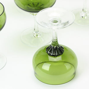 Set of 10 Sasaki Coronation green crystal martini glasses bottom view