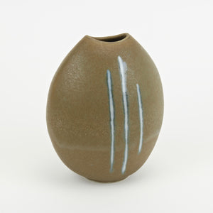 Mango shaped studio pottery vase Olive with blue stripes