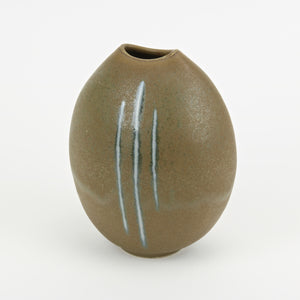 Mango shaped studio pottery vase Olive with blue stripes side view
