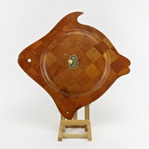 Super Wood woven teak fish shaped serving tray bottom