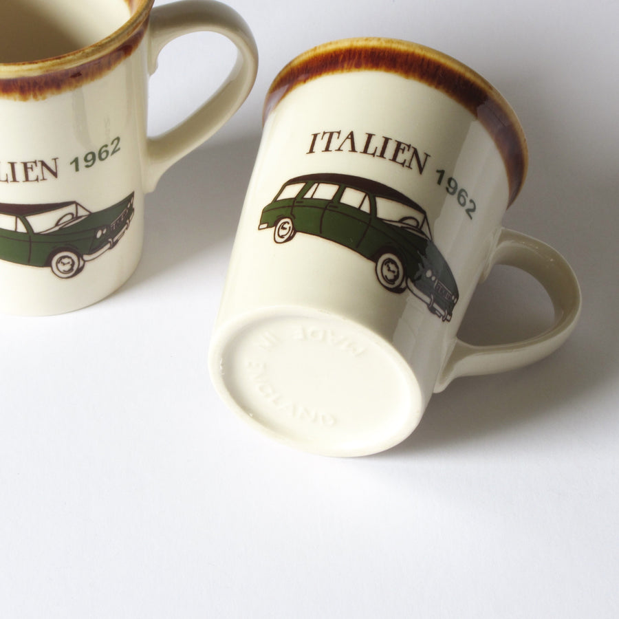 Tams of England coffee mugs with Italian car design