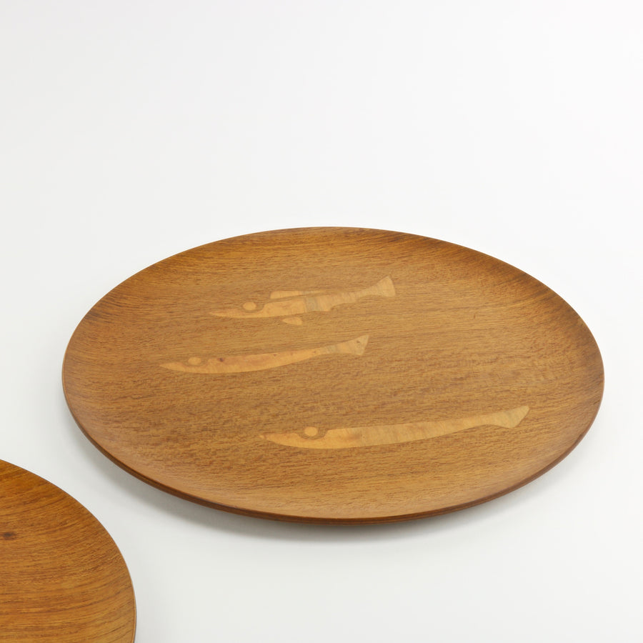 NCC vintage teak serving trays with fish inlay