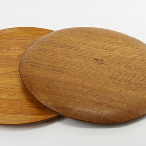 NCC vintage teak serving trays with fish inlay bottom manufacturer's stamp