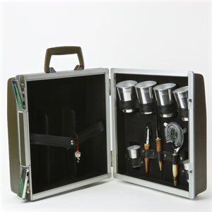 Travel martini set with tools and cups
