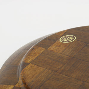Weavewood solid walnut serving platter bottom decal