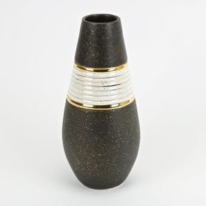 Watussi ceramic vase in dark mocha with gold and white accent glaze