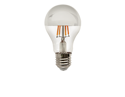 Filament Crown Silver LED dimmable full glass lamp.