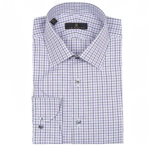 Crosby Purple Gray Check Dress Shirt