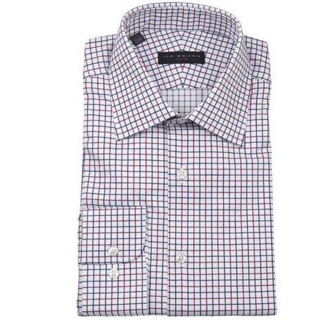 Crosby Navy Red Tattersall Dress Shirts