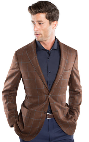 Brown Charcoal Plaid Sport Coat