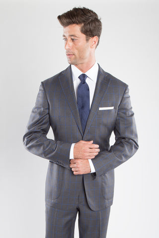 Charcoal Bright Blue Window Pane Suit