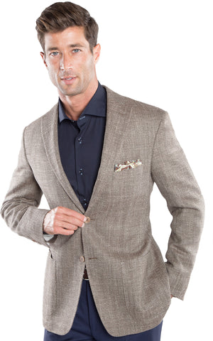 Brown Silk Herringbone Sport Coat