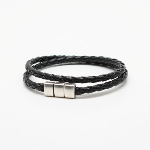 Braided Leather Double Wrap Bracelet - Black