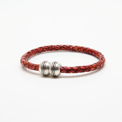 Braided Leather Hemisphere Bracelet - Whiskey