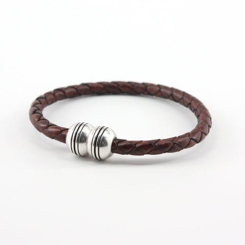 Braided Leather Hemisphere Bracelet - Brown