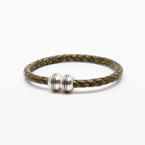 Braided Leather Hemisphere Bracelet - Olive