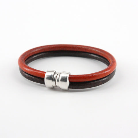 "Genuine Leather ""Art-Deco"" Bracelet - Brown/Orange"