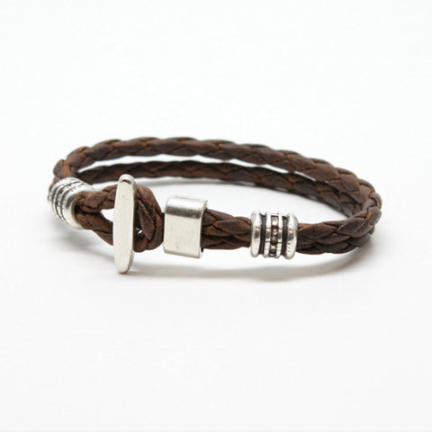 "Braided Leather ""Phoenix"" Bracelet - Vintage Brown"
