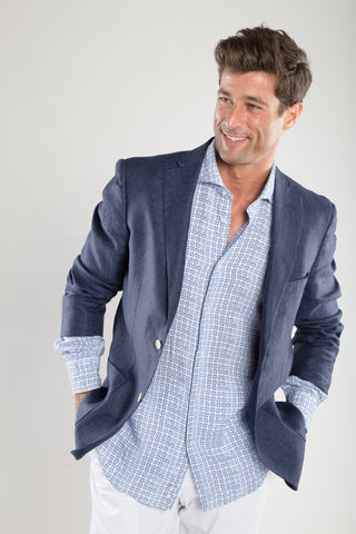 Navy Soft Linen Sport Coat