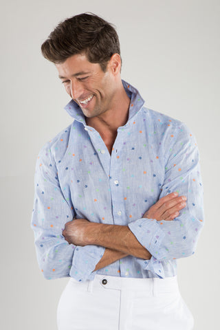 Ricky Sky Blue Flower Embroidered Sport Shirt