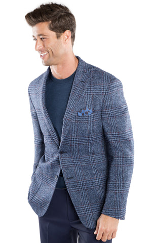 Milled Blue Plaid Sport Coat