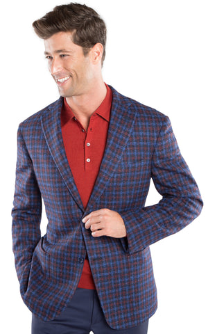 Milled Red Blue Plaid Sport Coat