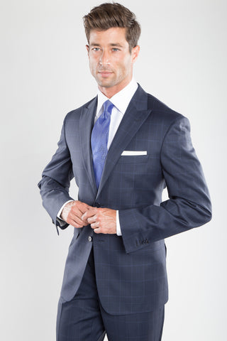 Navy Peak Window Pane Suit