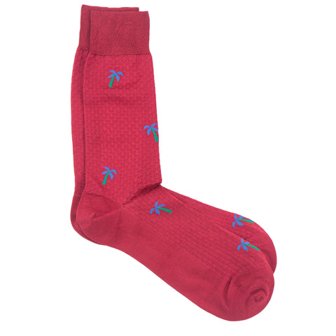 Red Knitted Palm Tree Sock