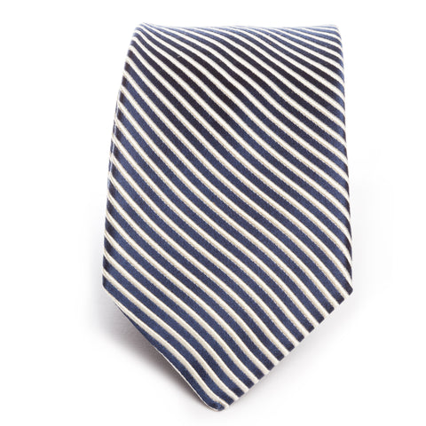 Navy Solid Satin Tonal Stripe