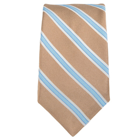 Tan Blue Royal Oak Stripe Tie