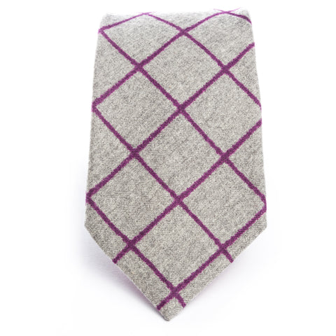 Gray Wool Flannel Plum Printed Plaid