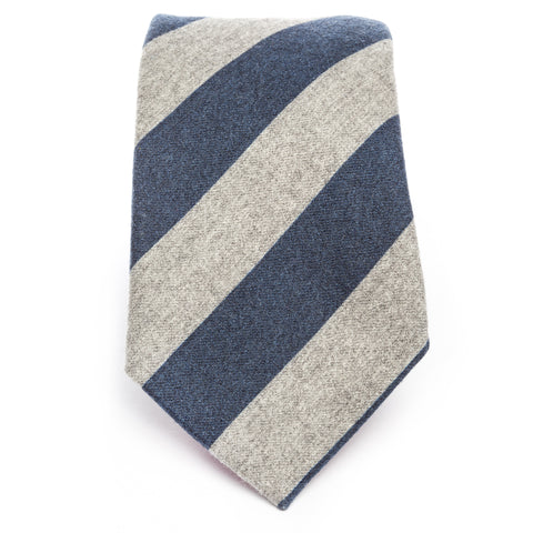 Gray Navy Wool Flannel Stripe