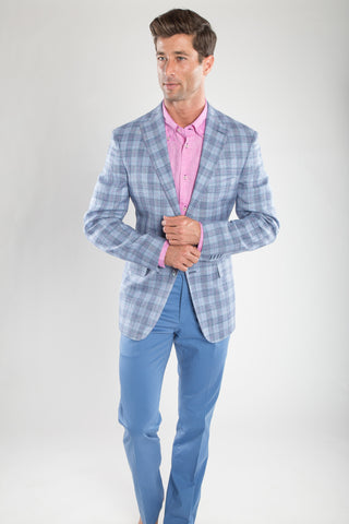 Light Blue Pink Deco Sport Coat