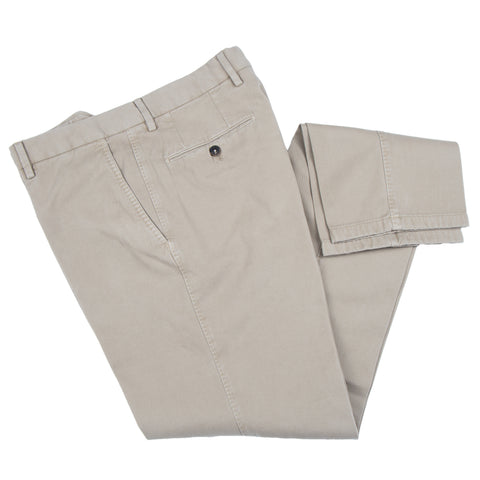 Brushed Twill Cotton/Cashmere Khaki Casual Pant