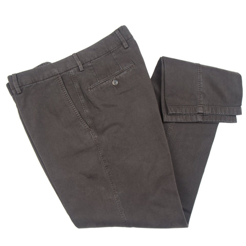 Brushed Twill Cotton/Cashmere Brown Casual Pant