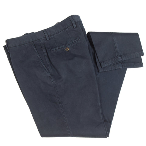 Brushed Twill Cotton/Cashmere Navy Casual Pant