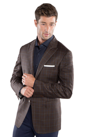 Brown Blue Window Pane Sport Coat
